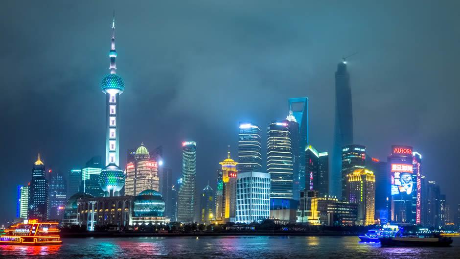 Skyline de Shanghai por la noche